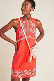 Anthropologie Aiko Embroidered Shift Dress