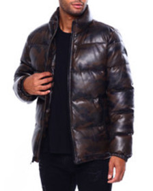 DKNY faux leather quilted puffer coat