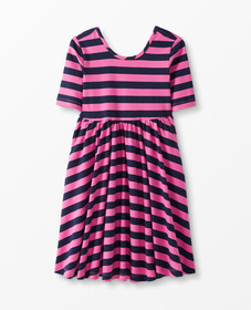 Hanna Andersson Twirl + Stripe Dress in Power Pink