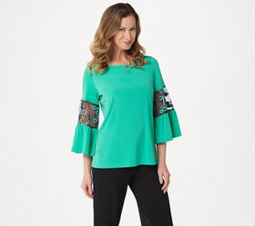 """""""As Is"""" Susan Graver Liquid Knit Top with Embroide"""