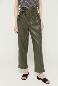 UO Maya Faux Leather Pleated Trouser Pant