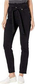 7 For All Mankind Paperbag Jeans in Pitch Black