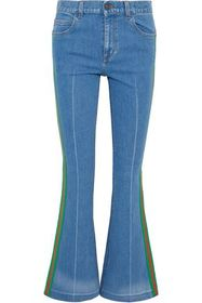 GUCCI Grosgrain-trimmed mid-rise flared jeans