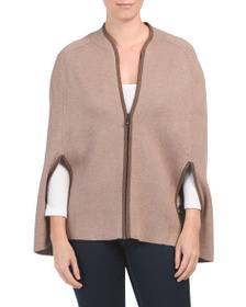 TAHARI Double Knit Cape With Slits