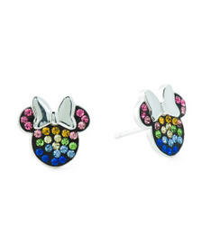 DISNEY Sterling Silver Minnie Mouse Crystal Stud E