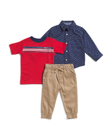 BEN SHERMAN Infant Boys 3pc Woven Top And Joggers