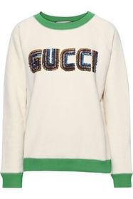 GUCCI Sequin-embellished French cotton-terry sweat