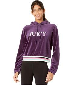 Juicy Couture Embroidered Juicy Hooded Velour Pull