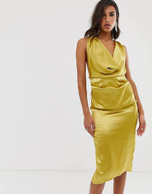 ASOS DESIGN midi dress with drape cowl neck in hig