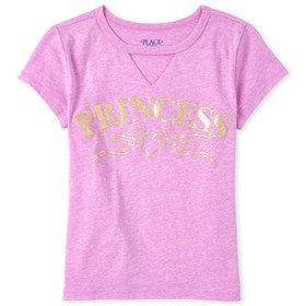 Girls Glitter Princess Cut Out Graphic Tee