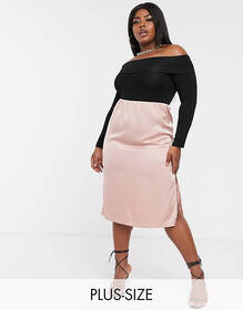 Missguided Plus Exclusive satin midi skirt in blus