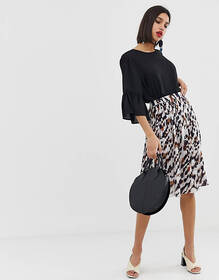 Vero Moda pleated animal print skirt