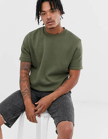 ASOS DESIGN short roll sleeve sweatshirt in khaki
