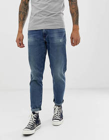 ASOS DESIGN 12.5oz tapered jeans in dark wash with