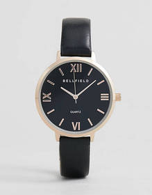 Bellfield Watch With Rose Gold Case and Black Stra