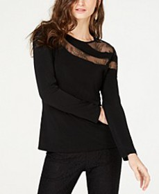 INC Long-Sleeve Illusion-Lace Top, Created for Mac