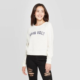 Women's Good Vibes Long Sleeve Graphic Sweatshirt