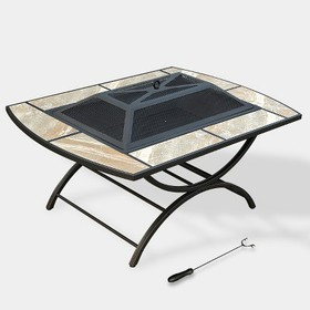 2-in-1 Ceramic Tile Fire Table - Natural - leisure