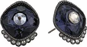 Swarovski Black Baroque Stud Pierced Earrings