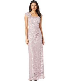 Tahari by ASL Cap Sleeve Sequin Side Ruched Lace G