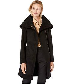 Cole Haan Slick Wool Belted Jacket with Oversized