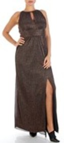 Glitter Striped Cut Out Sleeveless Gown