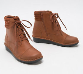 Clarks Collection Leather Lace-Up Ankle Boots - Mi