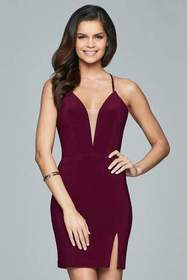 Faviana - 8054 Lace Up Plunging Neck Cocktail Dres