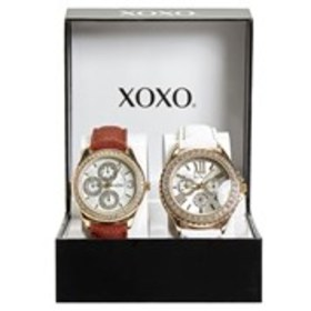 XOXO Womens Crystal Chronograph Faux Leather Watch