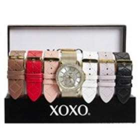 XOXO Womens Pave Crystal Gold Watch & Band 7-Piece