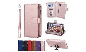 Leather Removable Zipper Wallet Case Cover For iPh