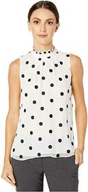 Rebecca Taylor Sleeveless Dot Embroidered Top