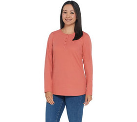 Denim & Co. Essentials Long Sleeve Button Henley W