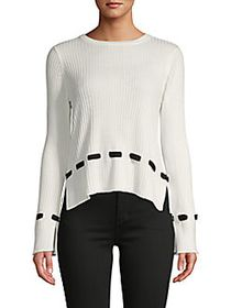 Design History Lace-Trim Ribbed Sweater WHITE BLAC
