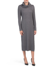 TAHARI Cowl Neck Cable Knit Sweater Dress