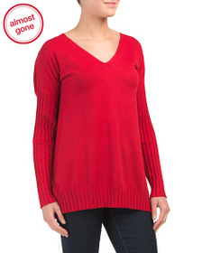 VINCE CAMUTO Drop Shoulder Ribbed Sweater