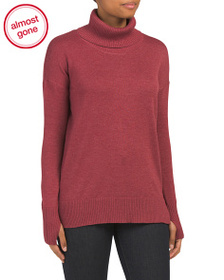 MAX STUDIO Ribbed Back Long Turtle Neck Sweater
