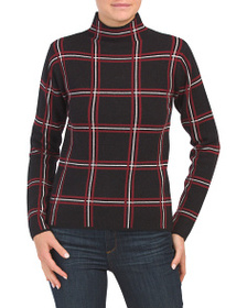 TAHARI Mock Neck Plaid Sweater