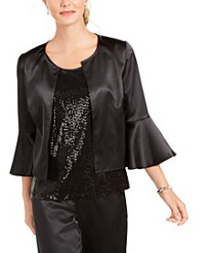 Satin Jacket & Sequined Tank Top Twinset, Created