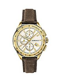 Versace Glaze Stainless Steel IP Gold Leather Stra