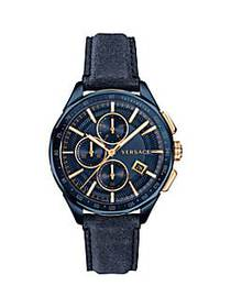 Versace Glaze Blue Dial Leather Strap Watch NO COL