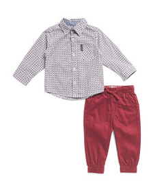 BEN SHERMAN Infant Boys 2pc Shirt And Joggers Set