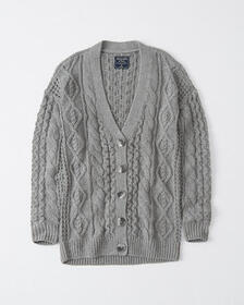 Cable Knit Cardigan, YELLOW