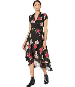 Betsey Johnson Floating Roses Faux Wrap Dress with