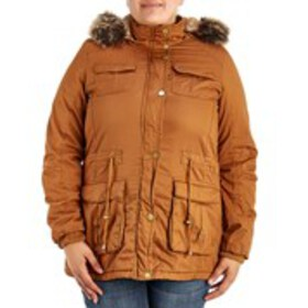 Juniors Plus Faux Fur Lined Anorak With Hood