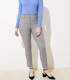 Plaid High Waist Skinny Ankle Pants in Curvy Fit