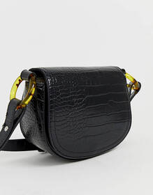 Pull&Bear moc croc cross body bag in black