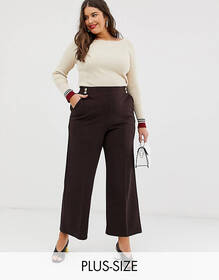 River Island Plus wide leg pants in chocolate