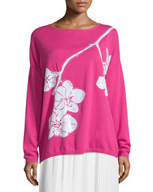 Joan Vass Petite Sequined Orchid Intarsia Sweater