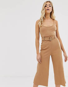 Missguided ribbed cami culotte jumpsuit with belte